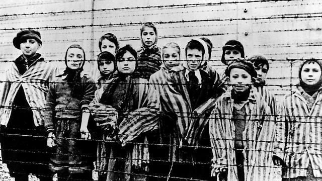 An image of child prisoners taken at the Auschwitz death camp in Poland  by liberating Soviet forces in 1945