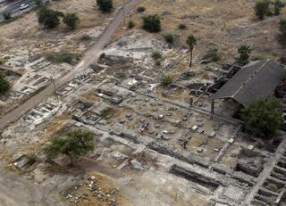 This 2013 aerial photo shows the site of the Al-Juma (Friday) Mosque in Tiberias