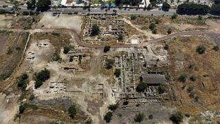 This 2014 aerial photo shows the site of the Al-Juma (Friday) Mosque in Tiberias