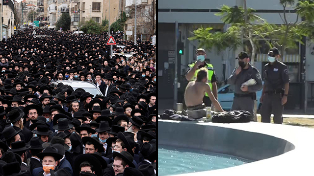 Mass Haredi funeral in Jerusalem and lone man in Tel Aviv being issued a ticket