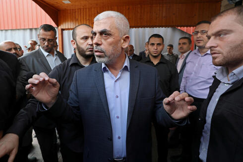 Gaza's Hamas Chief Yehya Al-Sinwar talks to media, in Gaza City