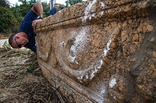 Man inspects sarcophagus unearthed at Ramat Gan Safari Park