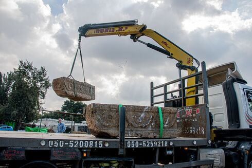 Crane lifts sarcophagus unearthed at Ramat Gan Safari Park