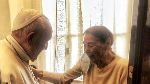 Pope Francis meets with poetess and Holocaust survivor, Edith Bruck, in Rome, Italy, February 20, 2021. Vatican