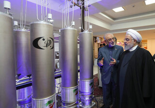 Outgoing Iranian President Hassan Rouhani visits one of the country's nuclear sites