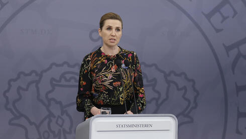 Danish Prime Minister Mette Frederiksen speaks during a news conference in Copenhagen on the coronavirus situation, Feb. 2021
