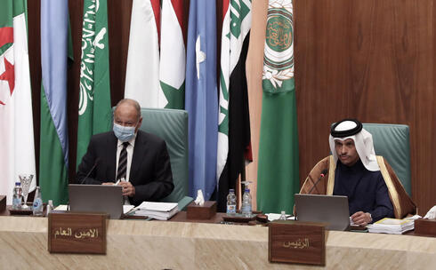 Ahmed Aboul Gheit at the  155th ordinary session at the Arab League headquarters in Cairo, Egypt, 03 March 2021
