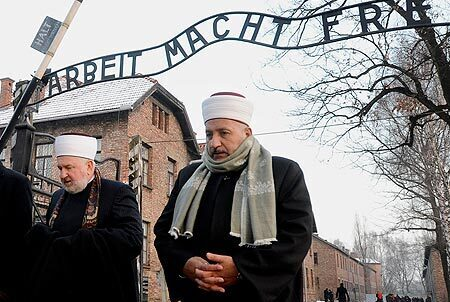 Muslim leaders visiting the Auschwitz death camp in Poland