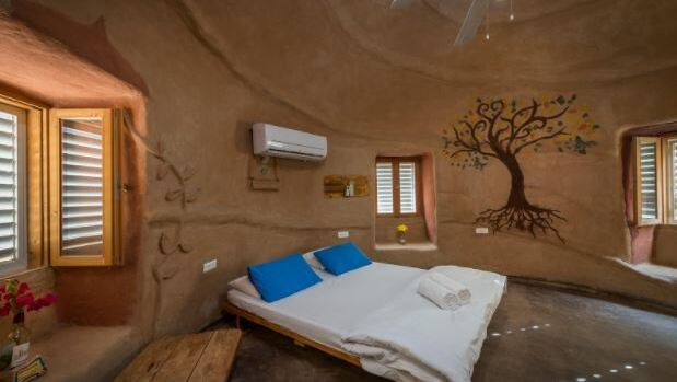 Mud hut accommodation on Kibbutz Lotan