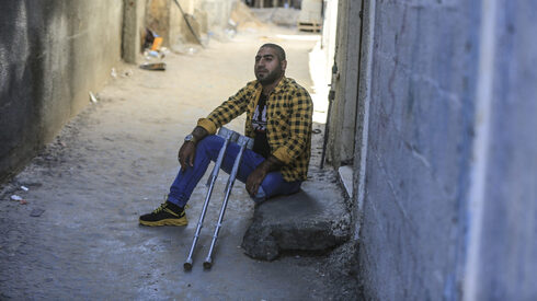 33-year-old Mohammad al-Ahras, who lost his left leg when IDF troops fired on demonstrators during the 2018–2019 Gaza border protests, is seen in Gaza City, March 3, 2021