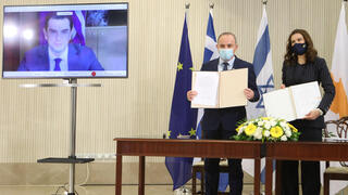 Cypriot, Israeli and Greek energy ministers sign an agreement about the 'EuroAsia Interconnector' Project at the Presidential Palace in Nicosia, Cyprus