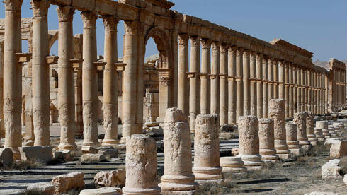 A picture shows the ruins of Syria's Roman-era ancient city of Palmyra