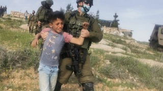 A Palestinian child arrested by IDF forces near the West Bank settlement of Havat Ma'on earlier this month