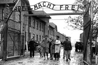 Soviet soldiers liberating the Auschwitz concentration camp in Poland