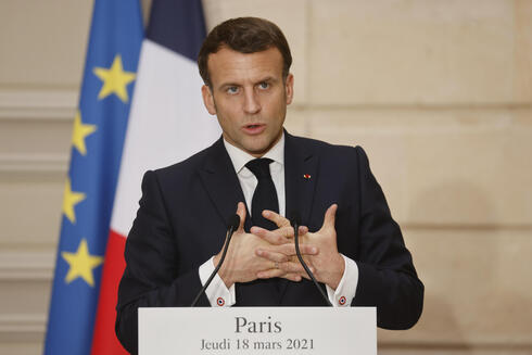 French President Emmanuel Macron during a joint press conference with President Reuven Rivlin