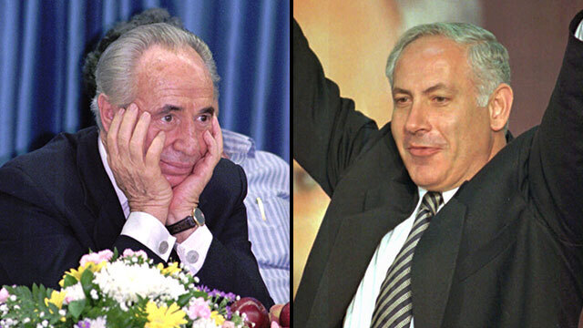 Then-leader of Labor Shimon Peres (L), Likud leader Benjamin Netanyahu during the 1996 elections
