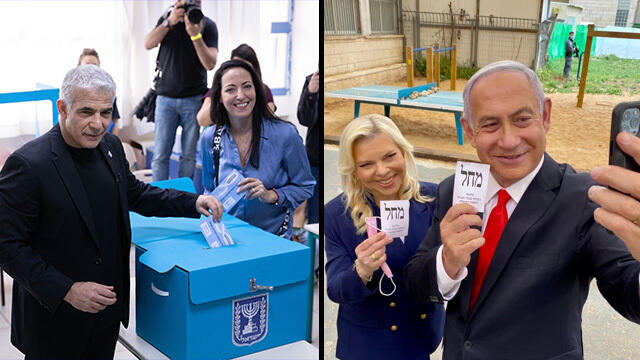 Yesh Atid head Yair Lapid, left, and Likud leader Benjamin Netanyahu cast their votes in Tuesday's election
