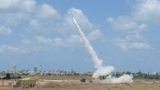 Iron Dome intercepts a rocket fired from Gaza at southern Israel
