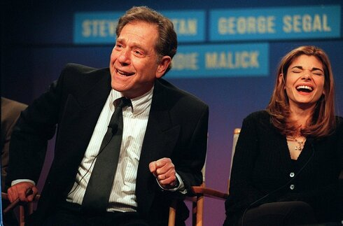 'Just Shoot Me' costars George Segal, left, and Laura San-Giacomo on a press tour in California, Jan. 1997