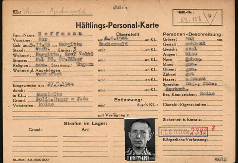 This reproduction handed out on March 22, 2021 by the Arolsen Archives shows the prisoner card (Haeftlings-Personal-Karte) of Hungarian Mor Hoffmann who was kept imprisoned by the Nazis in the Auschwitz and Buchenwald concentration camps