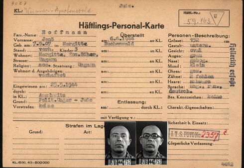This reproduction handed out on March 22, 2021 by the Arolsen Archives shows the prisoner card (Haeftlings-Personal-Karte) of Hungarian Jeno Hoffmann who was kept imprisoned by the Nazis in the Auschwitz and Buchenwald concentration camps