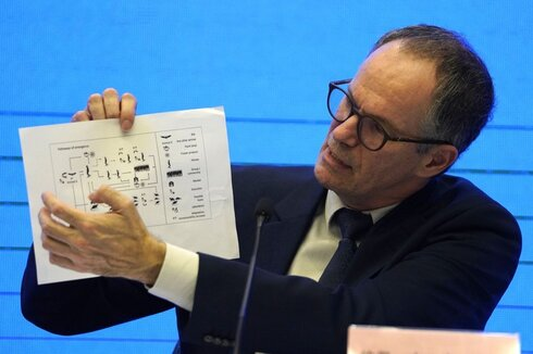 Peter Ben Embarek of the World Health Organization team holds up a chart showing pathways of transmission of the virus during a joint news conference at the end of the WHO mission in Wuhan in central China's Hubei province