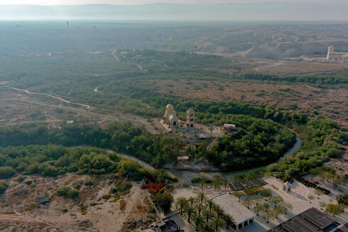 An aerial view shows a baptismal site known as Qasr el-Yahud on the River Jordan near Jericho in the Israeli-occupied West Bank