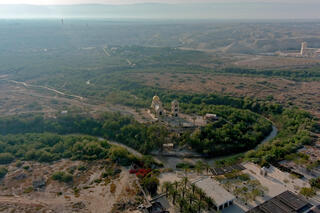 An aerial view shows a baptismal site known as Qasr el-Yahud on the River Jordan near Jericho in the West Bank