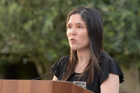 Lily Ben Ami, the sister of Michal Sela, speaks at the May 2020 hackathon to combat domestic violence, at the President's Residence in Jerusalem