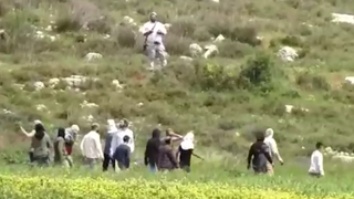 Settlers attacking a Palestinian man in Jaloud