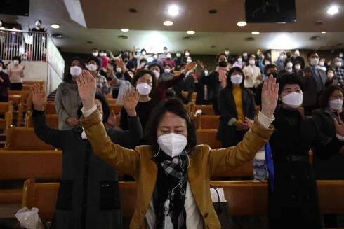 Christians attend an Easter service with social distancing at the Yoido Full Gospel Church in Seoul, April 4, 2021