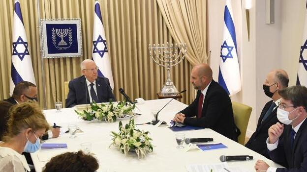 President Reuven Rivlin meeting with Likud officials at his Jerusalem residence on Monday