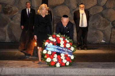 Then Vice President Joe Biden and his wife Jill lay a reef at the memorial hall at Yad Vashem Holocaust Remembrance Center in Jerusalem in 2010