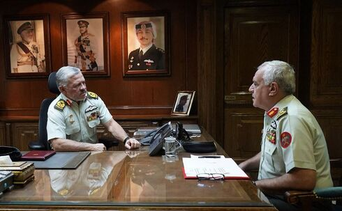 Jordanian King Abdullah II meeting with Major General Yousef Huneiti, chairman of the Joint Chiefs of Staff of the Jordanian Armed Forces (JAF)