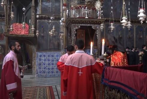Prayers at Saint James Cathedral in the Armenian Quarter of the Old City of Jerusalem