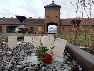 March of the Living plaques at the grounds of the former Auschwitz death camp