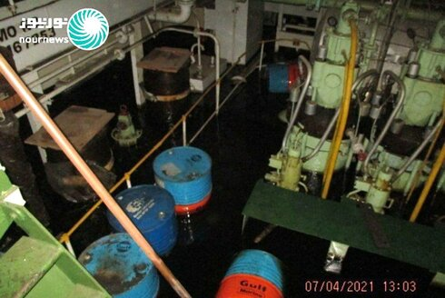 This photo released by Nournews on Thursday, April 8, 2021, shows the flooded engine room of the Iranian ship MV Saviz after being attacked in Red Sea off Yemen