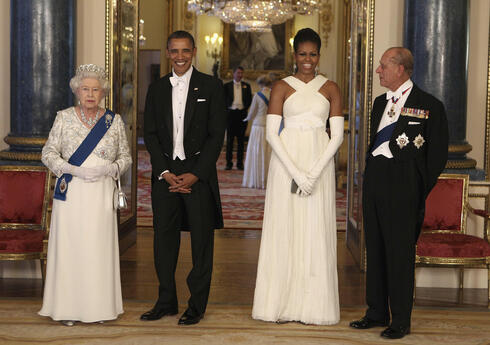 Queen Elizabeth II and Prince Philip host then-U.S. President Barack Obama and first lady Michelle Obama at Buckingham Palace, May 2011