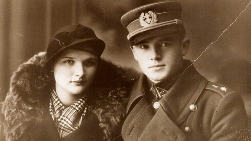 Jonas Nureika  who is considered a Lithuanian hero despite his roll in the deportation of Jews and his wife in a photo from WWII