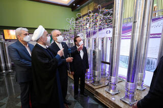Iranian President Hassan Rouhani touring the Natanz nuclear site