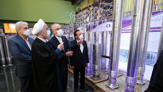 Iranian President Hassan Rouhani inspects advanced centrifuges at the Natanz uranium enrichment facility on Saturday