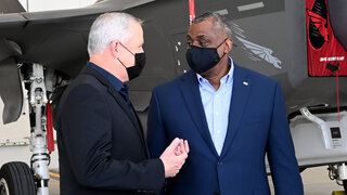 Defense Minister Benny Gantz and his American counterpart Lloyd Austin visting the Nevatim airbase in southern Israel last week