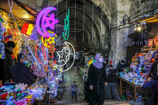 Ramadan decorations in Jerusalem's Old City, April 2021
