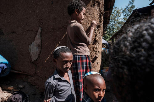 Children belonging to the Ethiopian Jewish community are pictured in a compound where several jewish families live, in the city of Gondar, Ethiopia