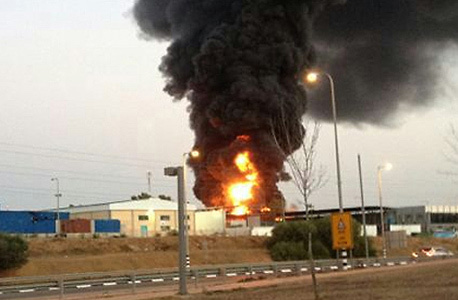 The industrial park in Sderot takes a direct hit from a Gaza rocket in 2014