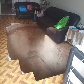 The pit that opened up in the living room of Uzi Basson and Sylvia Dahan