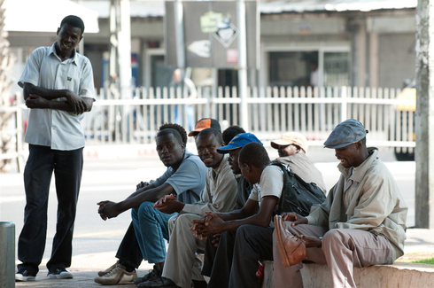 Asylum seekers in southern Tel Aviv