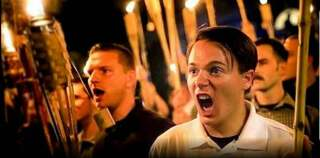 Anti-Semites march in Charlottesville, Virginia in 2017, chanting 'Jews will not replace us'