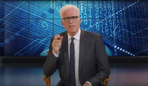 Ted Danson hosting his Advancements TV show