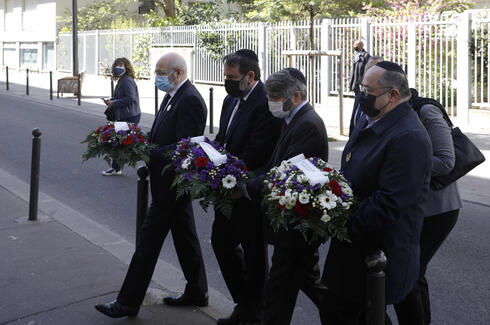 French Jewish officials attend a tribute to Sarah Halimi in Paris on Sunday